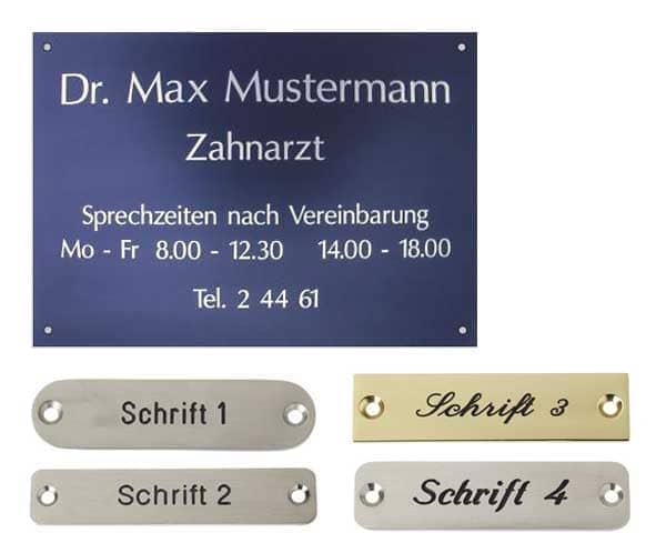 Firmenschild für Zahnarzt, Musterschilder mit Gravur für Türen im Büro oder Haus